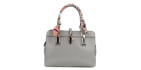 Dámská šedá lesklá kabelka se šátkem na poutku Gessy