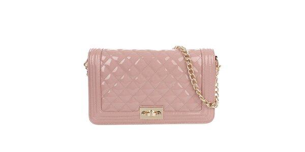 Dámská lesklá prošívaná kabelka v růžové barvě Gessy