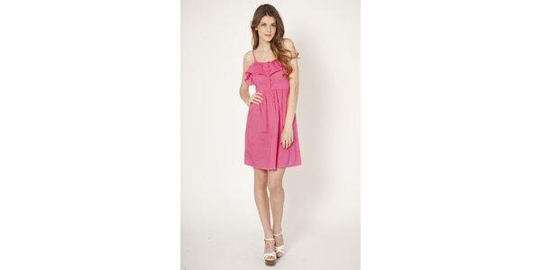 Dámské růžové šaty Tantra s volánem