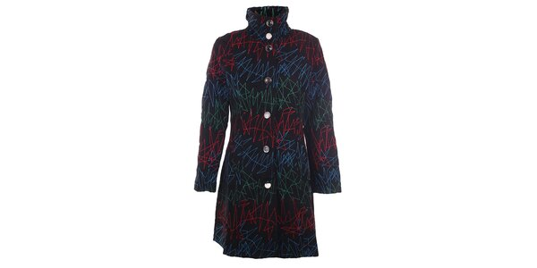 Dámský černý kabát s barevnou výšivkou DY Dislay Design