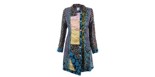 Dámský modrý pestře vzorovaný kabát DY Dislay Design