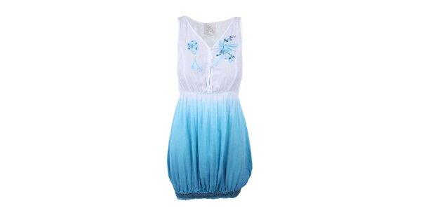 Dámská bílo-modrá tunika bez rukávů Dislay DY Design
