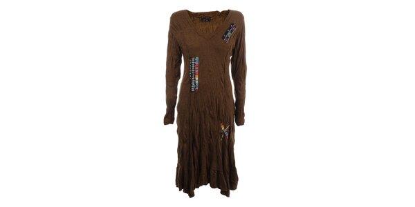 Dámské hnědé mačkané šaty s barevnými výšivkami Dislay DY Design
