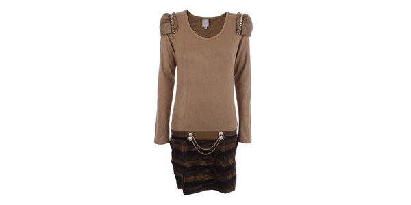 Dámské světle hnědé šaty s dekorativní aplikací na ramenou Dislay DY Design