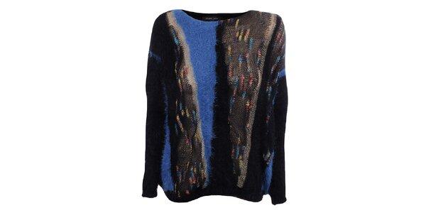 Dámský černý svetr s modrými prvky Dislay DY Design