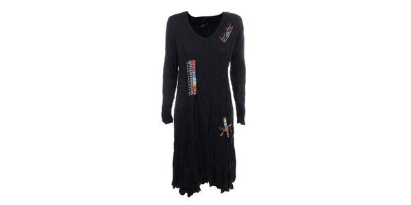 Dámské černé mačkané šaty s barevnými výšivkami Dislay DY Design