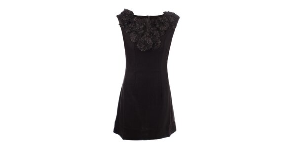 Dámské tmavě hnědé šaty s květinovým výstřihem Dislay DY Design