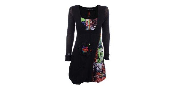 Dámské černé šaty s barevnými prvky a květinou Dislay DY Design