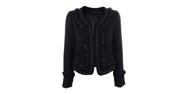 Dámský černý krátký kabátek s korálky Dislay DY Design