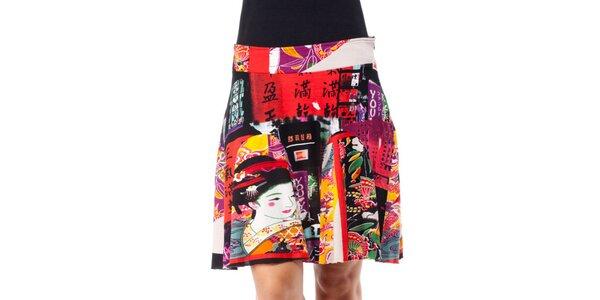 Dámská barevná sukně s japonskými motivy Janis
