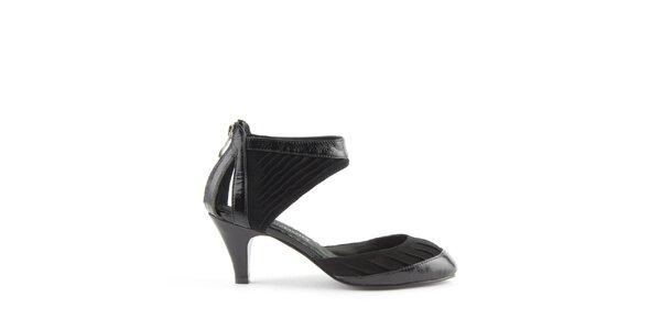 Dámské černé kožené sandály Lise Lindvig s pevnou patou