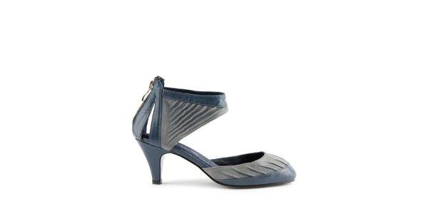 Dámské modré kožené sandály Lise Lindvig s pevnou patou