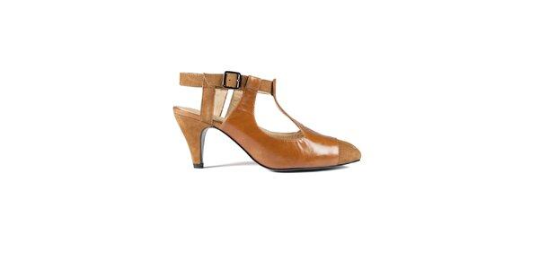 Dámské oranžovohnědé kožené sandály Lise Lindvig