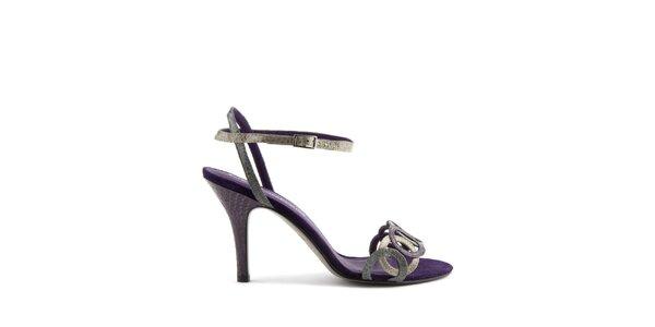 Dámské fialové páskové boty Lise Lindvig s hadím motivem