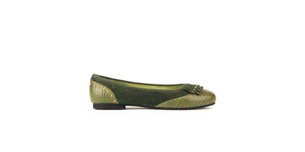 Dámské olivově zelené baleríny Lise Lindvig s kovovými cvoky