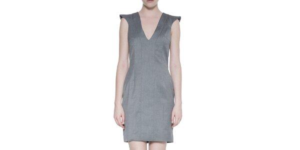 Dámské vlněné šedé šaty s hlubokým výstřihem Gene