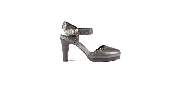 Dámské ocelově šedé lakované sandály Lise Lindvig s plnou špičkou