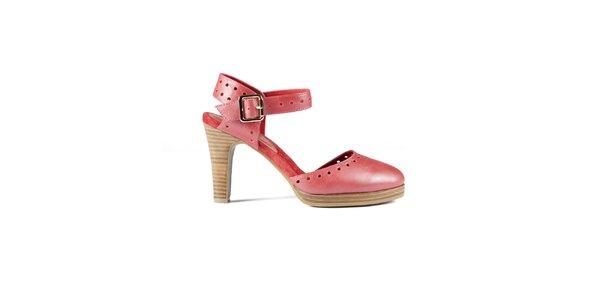 Dámské červené lakované sandály Lise Lindvig s plnou špičkou