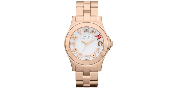 Dámské pozlacené analogové hodinky s barevnými kamínky Marc Jacobs v barvě…
