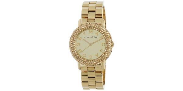 Dámské pozlacené hodinky s bílými krystaly Marc Jacobs