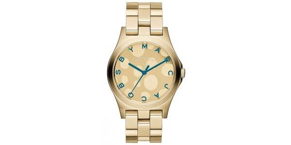 Dámské pozlacené hodinky s tyrkysovými prvky Marc Jacobs