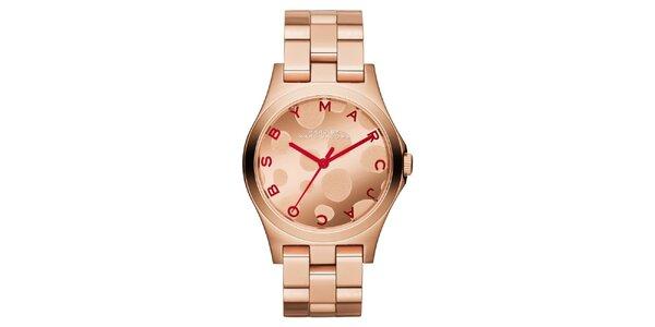 Dámské pozlacené hodinky Marc Jacobs v barvě růžového zlata