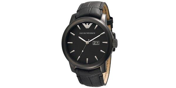 Pánské černé hodinky s koženým řemínkem Emporio Armani