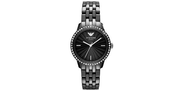 Dámské černé hodinky s keramickým řemínkem Emporio Armani