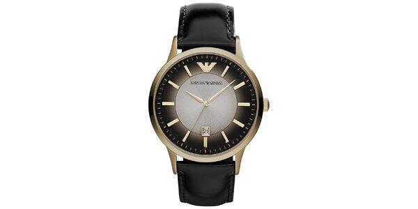 Pánské černé hodinky s prvky ve zlatém tónu Emporio Armani