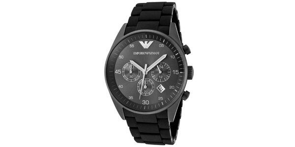 Pánské černé hodinky z nerezové oceli Emporio Armani