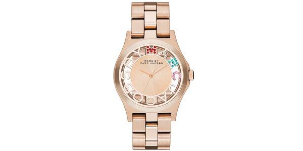 Dámské pozlacené hodinky Marc Jacobs s barevnými kamínky