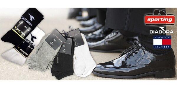 3 páry značkových ponožek Tommy Hilfiger či Diadora
