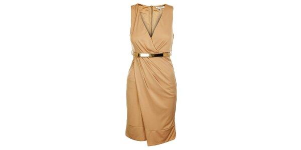 Dámské světle béžové šaty Lucy Paris s páskem