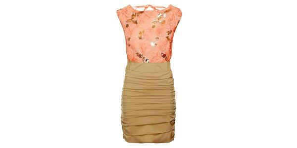 Dámské růžovo-béžové šaty Lucy Paris se zlatými flitry a růžemi