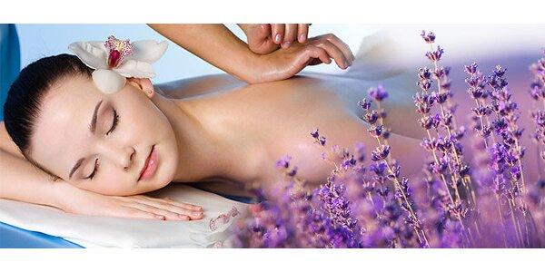Hodinová levandulová masáž krku, šíje, zad, ramen a plosek nohou