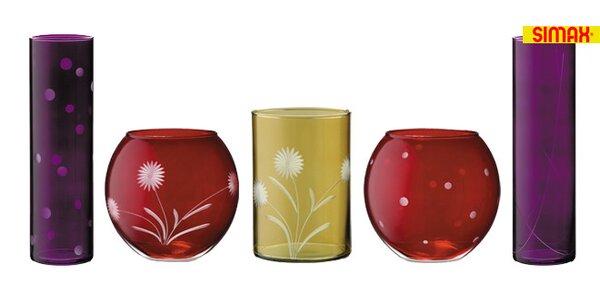 Krásné dekorované vázy SIMAX z české sklárny