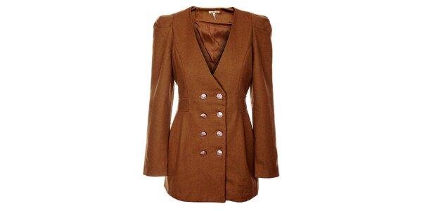 Dámské hnědé vlněné sako Lucy Paris s velkými zlatými knoflíky
