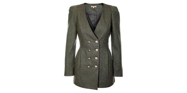 Dámské světle šedé vlněné sako Lucy Paris s velkými zlatými knoflíky