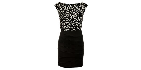 Dámské černo-bílé šaty Luci Paris s puntíky