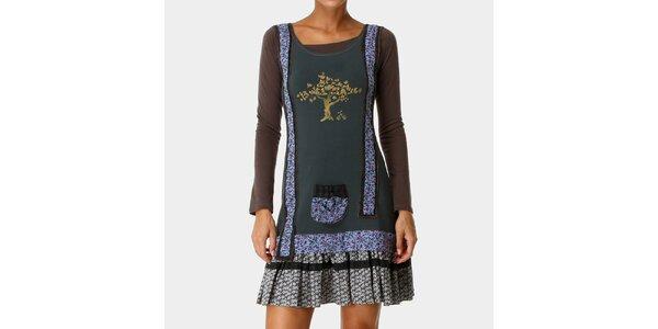 Dámské šaty s dlouhým rukávem a vzorovanou skládanou sukní Ian Mosh
