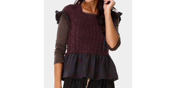Dámský top a fialový svetřík s ozdobným kanýrem Ian Mosh
