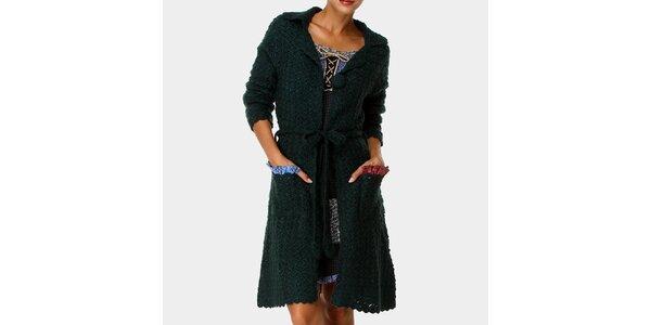 Dámský tmavě zelený dlouhý svetr s kapsami Ian Mosh
