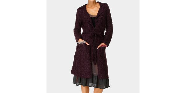 Dámský tmavě fialový dlouhý svetr s kapsami Ian Mosh