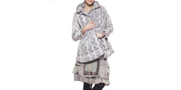 Dámský krátký šedý kabát se vzorem Ian Mosh