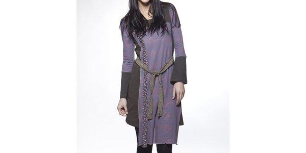 Dámské fialovo-hnědé šaty se zavazováním v pase Ian Mosh