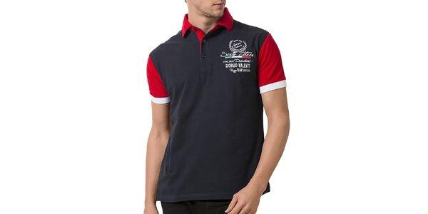 Pánské polo tričko s červenými rukávy a límečkem Giorigo Valenti