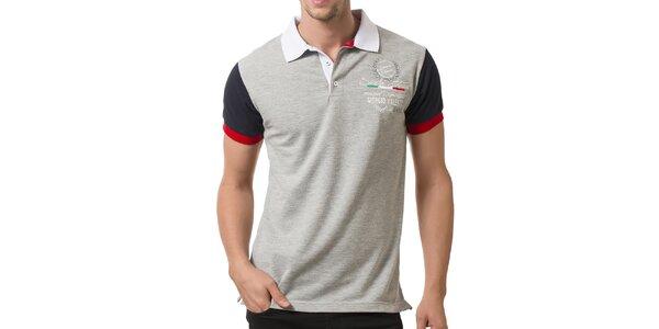 Pánské světle šedé polo tričko s bílým límečkem Giorgio Valenti