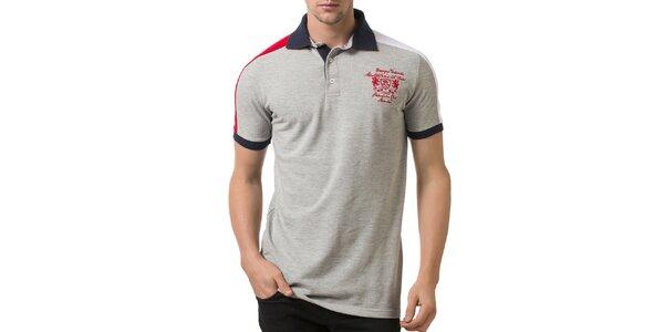 Pánské světle šedé polo tričko s tmavě modrým límečkem a výšivkou Giorgio…