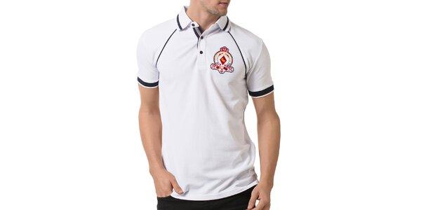 Pánské bílé polo tričko s kontrastními prvky a výšivkou Giorgio Valenti