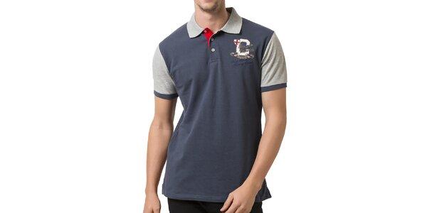 Pánské šedo-modré polo tričko se světlými rukávy Giorgio Valenti
